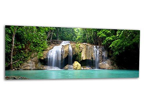 KD Dsign+ XXL Glasbild AG312500527 Mural Wasserfall Lagune 125 x 50 cm/WANDBILD Deco Glass/Handmade