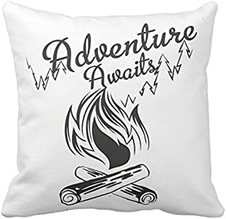 Kissenday 18X18 Inch Adventure Awaits Inspirational Quote Travel Word Cotton Polyester Decorative Home Decor Sofa Couch Desk Chair Bedroom Car Birthday Gift Cute Saying Square Throw Pillow Case