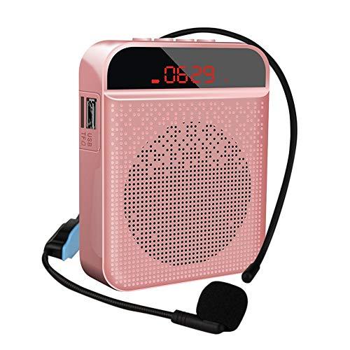 Amplificador de voz portátil con sistema Pa personal con auriculares de micrófono, altavoz de micrófono, compatible con TF/USB/FM/AUX/grabación/Bluetooth, sistema de amplificador de sonido para