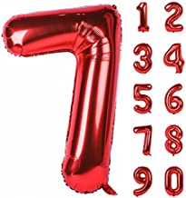 CHANGZHONG 40 Inch Red Large Numbers 0-9 Birthday Party Decorations Helium Foil Mylar Big Number Balloon Digital 7