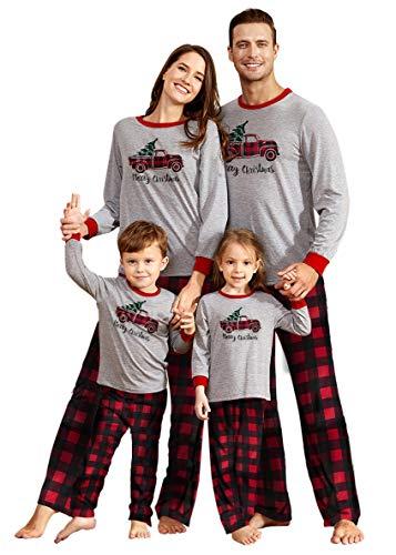 IFFEI Matching Family Pajamas Sets Christmas PJ's Sleepwear Truck Print Top with Plaid Bottom 3-4 Years