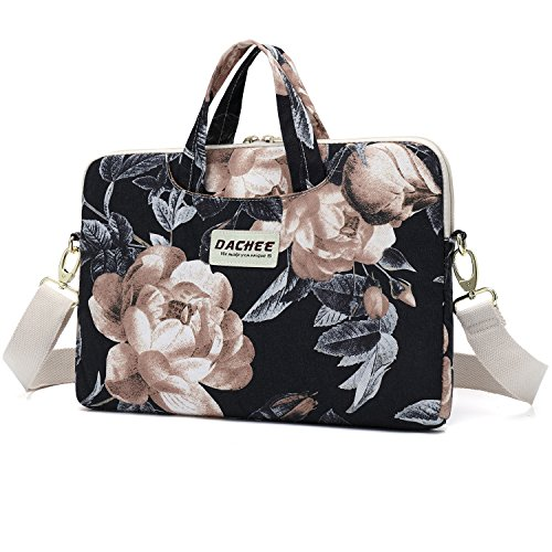 Dachee Big White Rose Patten Waterproof Laptop Shoulder Messenger Bag Case Sleeve for 14 Inch 15 Inch Laptop Case Laptop Briefcase 15.6 Inch