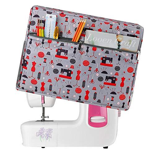 libelyef Cubierta para máquina de coser, cubierta contra el polvo con bolsillos, accesorios estándar para máquinas de coser, compatible con la mayoría de máquinas de coser, 44,5 cm x 20,3 cm x