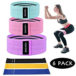 Hosome Fitness Bands Set, Resistance Hip Band Theraband Set of 6 Resistance Bands Elastic, 3 Fabric Loop Bands 3 Latex Exercise Bands Training bands for muscles, abdominal muscles, legs and hips