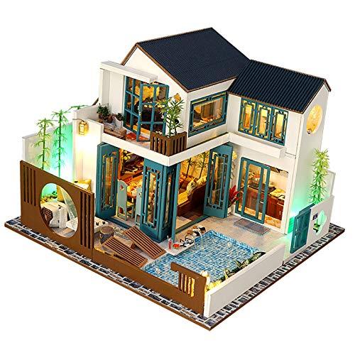 perfeclan DIY Kit de casa de muñecas Miniatura apartamento DIY Kit de casa de muñecas con Muebles de Madera luz Regalo casa Juguete para Adultos