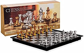 CNmuca Conjunto de brinquedos de xadrez dourado e prata com conjunto de brinquedos de xadrez dobrável para adultos e crian...