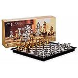 QiKun-Home Juguetes de ajedrez de Oro y Plata Traje de ajedrez magnético con Tablero de ajedrez Plegable Juego de Juguetes de Viaje para Adultos y niños Oro Plata XL