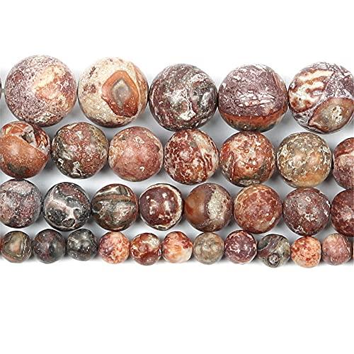 Piedra natural rojo leopardo impresión encanto redondo cuentas sueltas para hacer joyas costura pulsera Strand 4 6 8 10 12 mm H8130 8mm sobre 48pcs