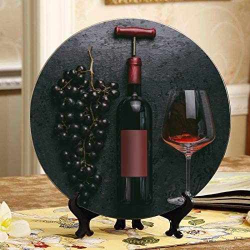 YSWPNA Bottle Wine Memphis Mall and Grape Antique National products On Plates Decor Table