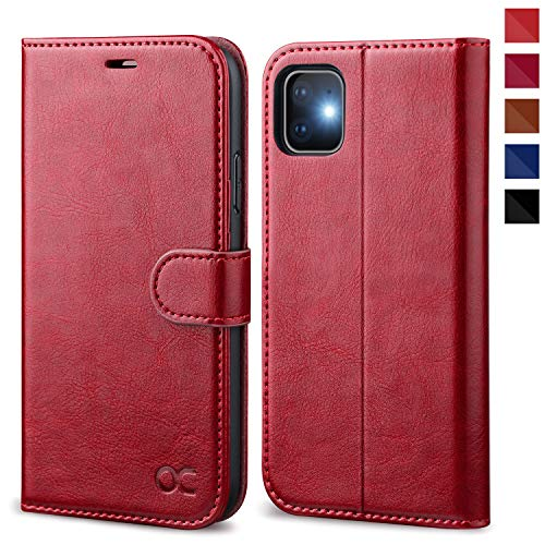 OCASE Cover iPhone 11, Custodia iPhone 11 Interno TPU Antiurto Portafoglio [Supporto Stand] [Carta Fessura] [Magnetica] Custodia di Pelle Flip Case Cover per iPhone 11 (6,1 Pollici) - Rosso