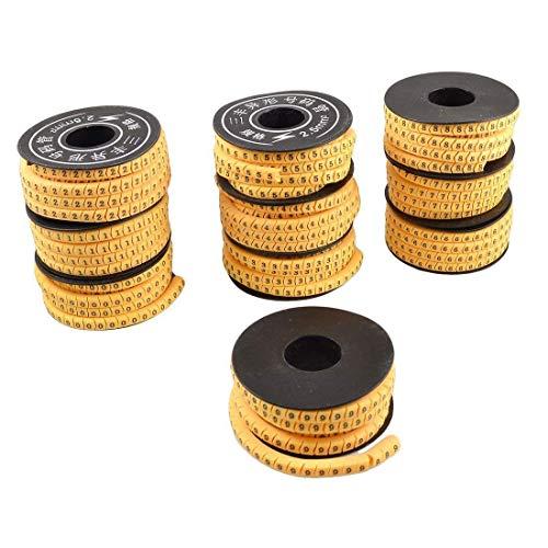 Fliyeong Trådkabelmarkörer flexibel PVC kabel markör nummer 0-9 tryck kabelmärkning nummer rör 10 delar/set