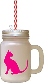 Hot Pink Modern Siames Cat Silhouette #1 Frosted Glass Mason Jar With Straw