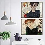 DFRES Egon Schiele Pinturas Rectangulares Horizontales Retrato Poster Figura Arte De La Pared Impresiones En Lienzo Dormitorio Decoracion para El Hogar Cuadros 40x50cmx2 Sin Marco