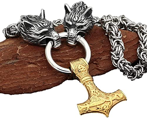 Heren 316L Rvs Wolf Hoofd Thors Hamer Ketting Viking Amulet Thors Hamer Hanger Nordic Amulet,Goud,80cm