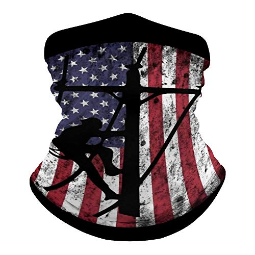 VVGETE Lineman American Flag Neck Gaiter Mask & Shield Variety Magic Scarf Seamless Balaclavas Breathable Face Cover Bandana for Men & Women, Color1, One Size
