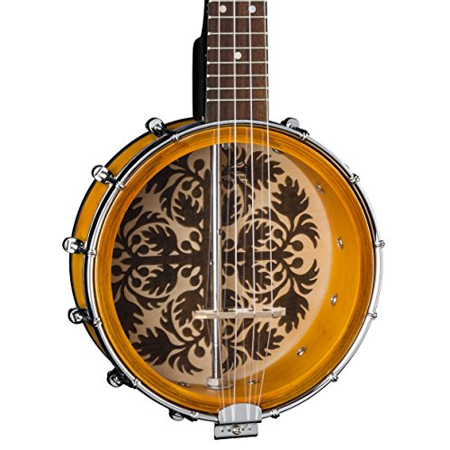 "Luna 8"" Banjolele with Ulu Design, Tobacco Burst"