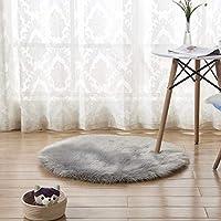 フェイクシープスキンラウンドラグ、超ロングウールのシンプルな形状の椅子ベッドソファフロア用の洗えるカーペット滑り止めマット、掃除が簡単な人間化されたデザイン,グレー,110cm