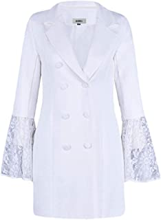 Fashion Womens Double-Breasted Bell Sleeve Lace Splice Notch Lapel Mid Length Blazer Coat