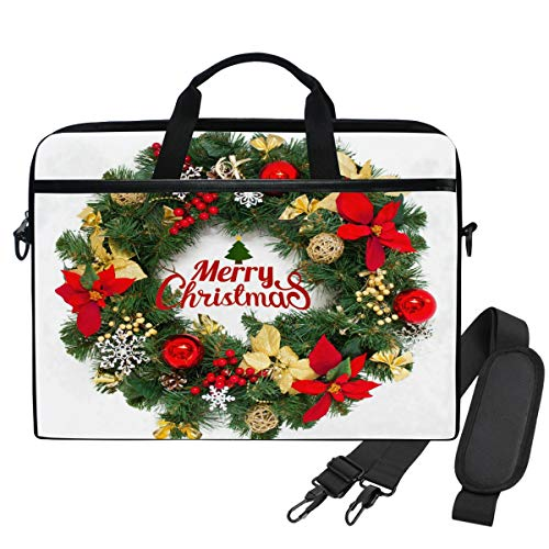 Emoya Laptopn Bag Merry Christmas Wreath Floral Messenger Laptop Shoulder Bag Compatible 13.3-14 Inch Computer
