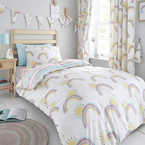 Happy Linen Company Girls Kids Rainbows Sunshine Stripes White Toddler Cot Bed Reversible Duvet Cover Bedding Set