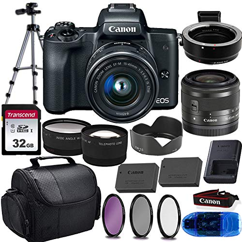 Canon EOS M50 Mirrorless Digital Camera (Black) & 15-45mm STM Lens w/EOS M Mount Adapter + 32GB Transcend Memory Card, Shoulder Bag & Essential Accessory Bundle