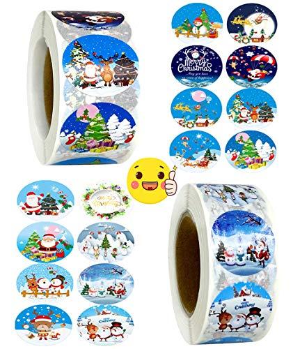 Weihnachts Aufkleber Rolle,1000Pcs Rund Geschenk-Aufkleber, Weihnachtsgeschenke Sticker Etiketten, für Umschlag Geschenktüten Papiertüten Weihnachtskarten
