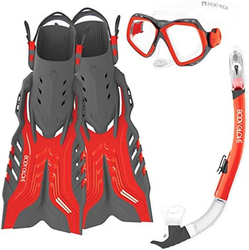 Body Glove Aquatic Fiji Mask Snorkel and Fins Set Large X Large Red Grey product image