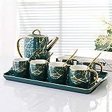 ZHJC Juego de Tazas de Té de Porcelana Copa Creativa café y un Plato de cerámica Conjunto de Hogares Bandeja for Quemar Juego de té a Alta Temperatura Exhibición