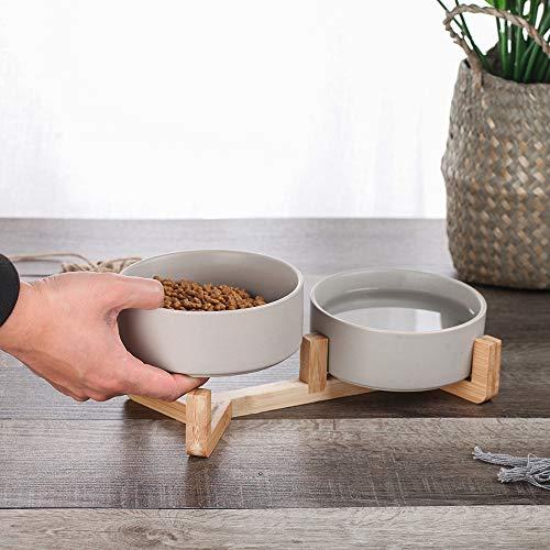 Mau Moderne Futternäpfe Bambus Scandi Nordic Stil Keramik Hund Katze Doppelnapf Napf Futterstation (Grau)