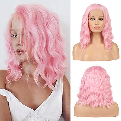 RDY Short Bob Synthetic Lace Front Wigs Pink Color Loose Wave Bob Wig for Women Shoulder Length Heat Friendly 150% Density Middle Part Glueless Wigs with Natural Hairline 12 Inches