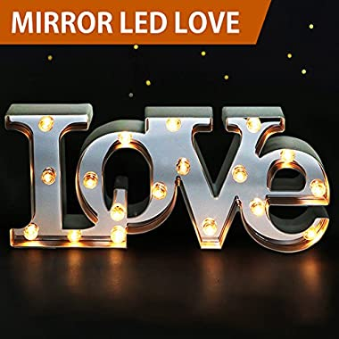 Bright Zeal 7  Tall Large LED LOVE Marquee Sign Letters (MIRROR IMBEDDED, 6hr Timer) -Marquee Letters Lights Wedding Decorations -Decorative Signs Home LOVE Decor Signs Wedding Decor Lights B