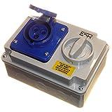 Presa con interlock, con 3 fori, 2P+T, 16 A, 230 V, monofase, colore blu (etichetta in lingua italiana non garantita)