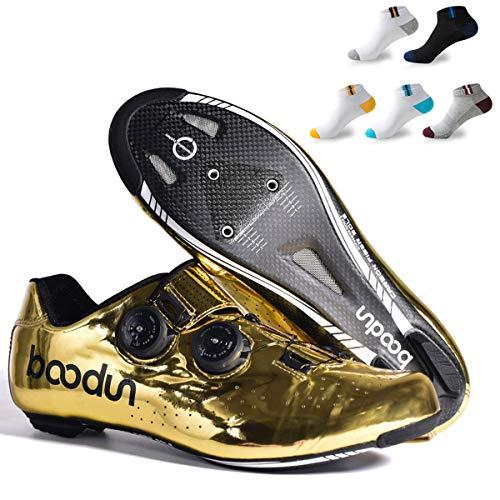 XFQ Ciclismo Calzado Hombre, Calzado Fibra De Carbono Bici del Camino De Adultos Transpirable Antideslizante Ligero Pro Cycling Lock Zapatos con 5 Pares De Calcetines Deportivos,45eu