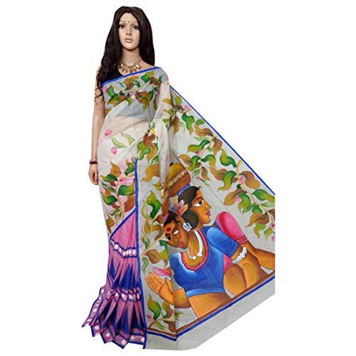 Blanco indio étnico sari sari tussar seda mano pintura tejedores hechos a mano de la aldea de Bengala 158a