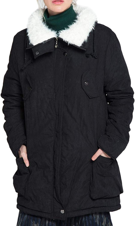 BETTERUU UFACE Women Winter Fleece Long Sleeve Hooded Outdoor Wind Warm Zip Pocket Jacket Coat
