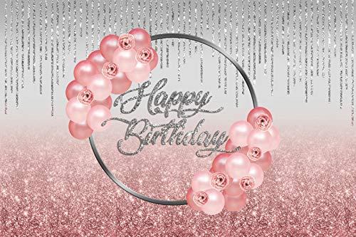 Foto Hintergrund Pink Red Balloons Geburtstagsfeier Glitter Star Dot Anhänger Bühne...