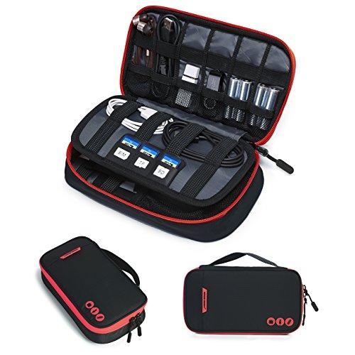 bagsmart Elektronische Tasche Reise, Elektronik Zubehör Tasche Doppelte Schichte Kompakt für USB Ladegerät, Kabel,Externer Akku, SD Karten (Schwarz-1-S)