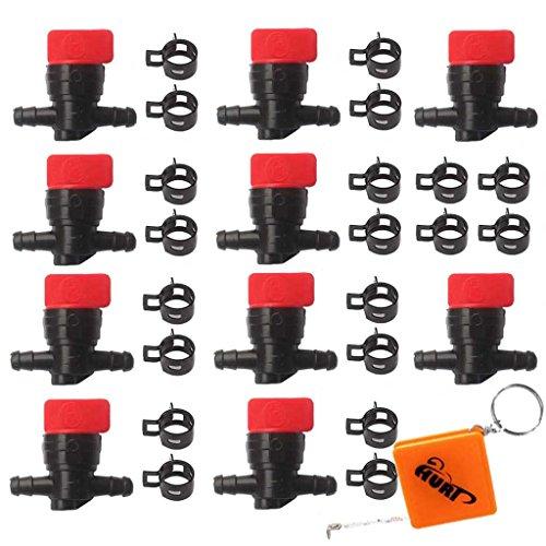 HURI 10x Kraftstoffhahn Benzinhahn mit Schellen für 6mm - 8mm Schlauch Ersetzt B&S Briggs & Stratton 698183, 494768, 493960, 491860, Wolf 2058063, 2059063, AM36141 AM107340