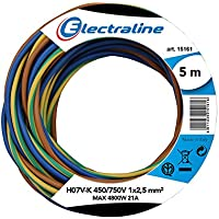 Electraline 25148 - H07V-K Cable, Sección 1 x 2.5 mm, 5m, multicolor