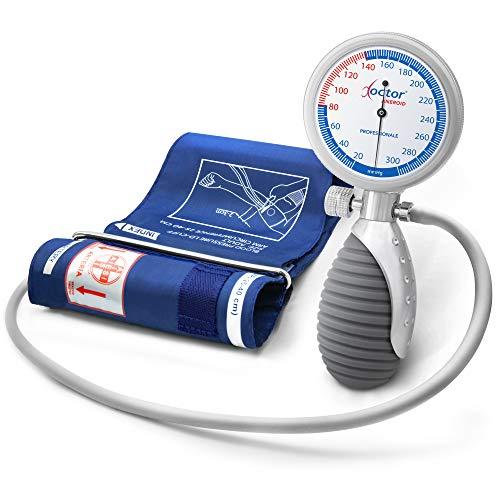 AIESI® Blutdruckmessgerät Manuelles Professionelles Aneroid oberarm handheld modell für erwachsene DOCTOR ANEROID # Verstellbarer Griff # 24 monate garantie