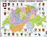 Larsen K43 Schweiz Politische Karte, Mehrsprachig (Deutsch/Französisch/Italienisch) Ausgabe, Rahmenpuzzle mit 70 Teilen