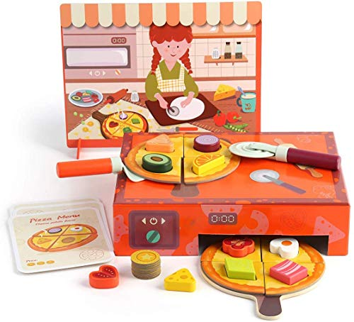 TOP BRIGHT Pizza Toys, Kids Play Food Wooden Pizza Making Toy Set with Toppings & Oven, Pretend Play Kitchen Cooking Playset