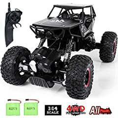 ALL TERRAIN OFF-ROAD CAR - With a top speed of 10km/h, this off-terrain buggy is powered by a double magnet motor. The front and rear 4 wheel drive provide powerful torque speed that allows the car to climb rocky and uneven surfaces, such as land, be...