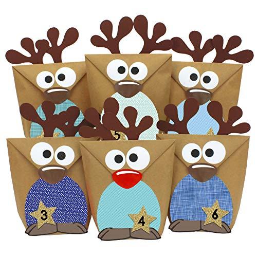 Papierdrachen Rentier Adventskalender zum Befüllen - mit blauen Bäuchen zum selber Basteln - 24 Tüten zum individuellen Gestalten und zum selber Füllen - Weihnachten 2020 für Kinder