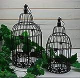 Moritz® – Gabbia Decorativa portacandela Antivento, Gabbia per Piante, Gabbia per Uccelli, Set da 2 Pezzi Giardino Shabby Marrone
