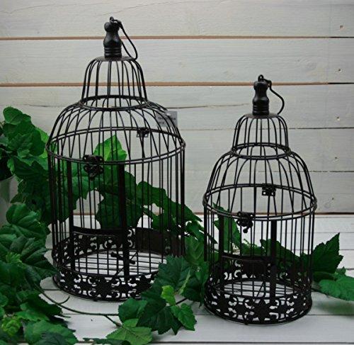 Moritz Deko Käfig Windlicht Dekokäfig Pflanzkäfig Vogelkäfig 2er Set Garten Shabby braun