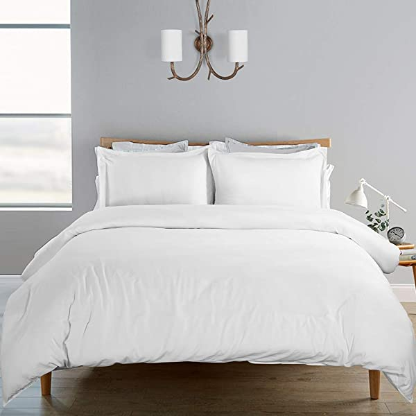 SORMAG Duvet Cover Queen Size 3 Piece 100 Washed Cotton Solid Color And Ultra Soft With Zipper Closure Corner Ties Simple Bedding Style White