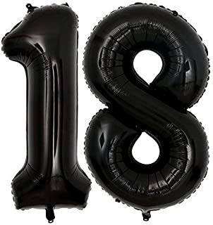 40inch Jumbo Black 18 Number Balloons for 18th Birthday Party Decoration Men Women 18 Years Old Birthday Party Supplies use Them as Props for Photos (Black 18)