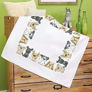 Kamaca Stickpackung Spaßige Haustiere Kreuzstich vorgezeichnet aus Baumwolle Stickset mit Stickvorlage Hunde Dogs
