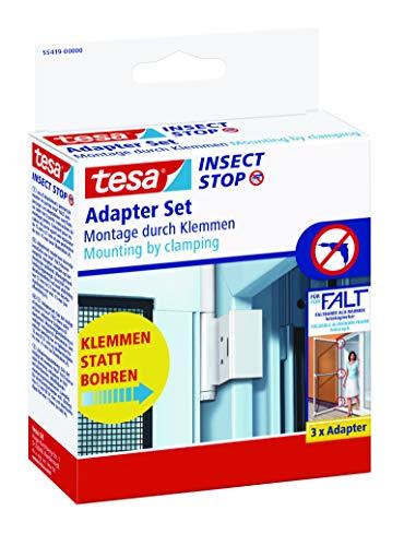 tesa Insect Stop FALT Tür Adapter für Alu-Rahmen - Tür-Klemme für die Montage von Insektenschutz-Türrahmen ohne Bohren oder Schrauben - Weiß